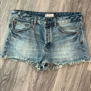 Free People frayed distressed jean shorts